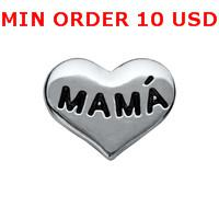 Cheap Charms SILVER MAMA HEART charms Best for locket mixed heart glass