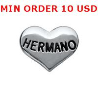 Charms for locket mixed SILVER HERMANO HEART Glass Floating charms for memory living locket wholesale