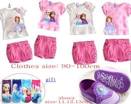 Free socks and sofia shoes! Princess frozen elsa anna Sofia suit .cotton set .DROP SHIPPING!HOT SALE,1set
