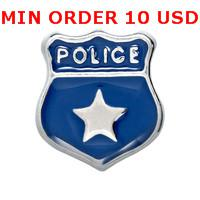 Charms for locket mixed POLICE BADGE Glass Floating charms for memory living locket wholesale
