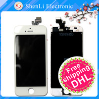 For Apple iPhone LCD Screen Panels 4.0 Inches 100% New For iPhone 5 5G Replacement LCD Display Touch Digitizer Screen With Frame Assembly Free Shipping Black and white