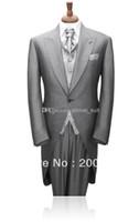 wholesale suits - Custom Made Morning Style Groom Tuxedo Light Grey Groomsman Peak Lapel Men Wedding Suits Bridegroom Jacket Pants Vest Tie A716