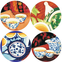 Wholesale Blue and white bowl coasters ceramic souvenirs Tang Tri colored pottery crafts Tang sancai gift chinese decoration traditional