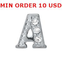 Wholesale CRYSTAL SILVER A INITIAL Glass Floating charms for memory living locket