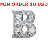 Charms for locket mixed SILVER B INITIAL Glass Floating charms for memory living locket wholesale