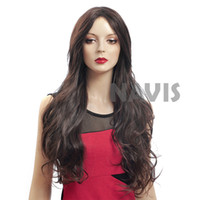 Dark Brown Natural Wave  Kanekalon Free shipping Cheap brown big waves roll wigs sweet sexy beauty carve bangs Fluffy wigs high quality wigs Kanekalon Women High Quality Curly