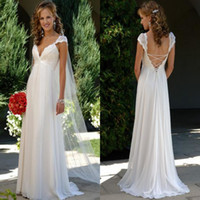 A-Line best beach photos - 2014 Best Selling Cap Sleeves A Line Summer Beach Wedding Dresses Chiffon Empire Appliques Sheer Lace Backless Bridal Gowns BO5949