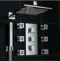 Wholesale Luxury Chrome quot Thermostatic Shower Faucet Massage Jets Sprayer W Hand Shower