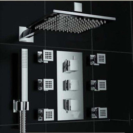 Wholesale Luxury Chrome quot Thermostatic Shower Faucet Massage Jets Sprayer W Hand Shower