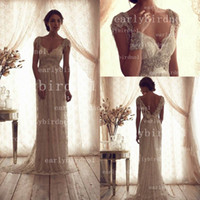 Wholesale Big Promotion Only Cheap V Neck Beaded Crystals Lace Backless Summer Beach Anna Campbell Plus Size A Line Wedding Dresses BO2212