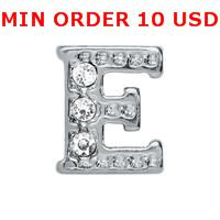 initial charms - E INITIAL Glass Floating charms for memory locket