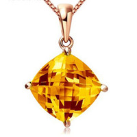 Wholesale Luxury Pillow Cut Natural Citrine Gemstone Solid Karat Yellow Gold Wedding Pendant Necklace Freeshipping