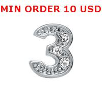 Charms for locket mixed 2014 NUMBER 3 Glass Floating charms for memory living locket wholesale