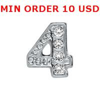 Charms for locket mixed NUMBER 4 Glass Floating charms for memory living locket wholesale