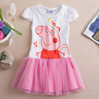 Girl Summer Short 2014 new summer dress pepe pig dress cotton baby girl dress child clothing age 2 3 4 5 6