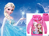 Wholesale 9 off IN STOCK Fashion Cute Grade Frozen elsa anna Girls Terry Hooded cardigan sweater kids clothes DROP SHIPPING HOT SALE TM