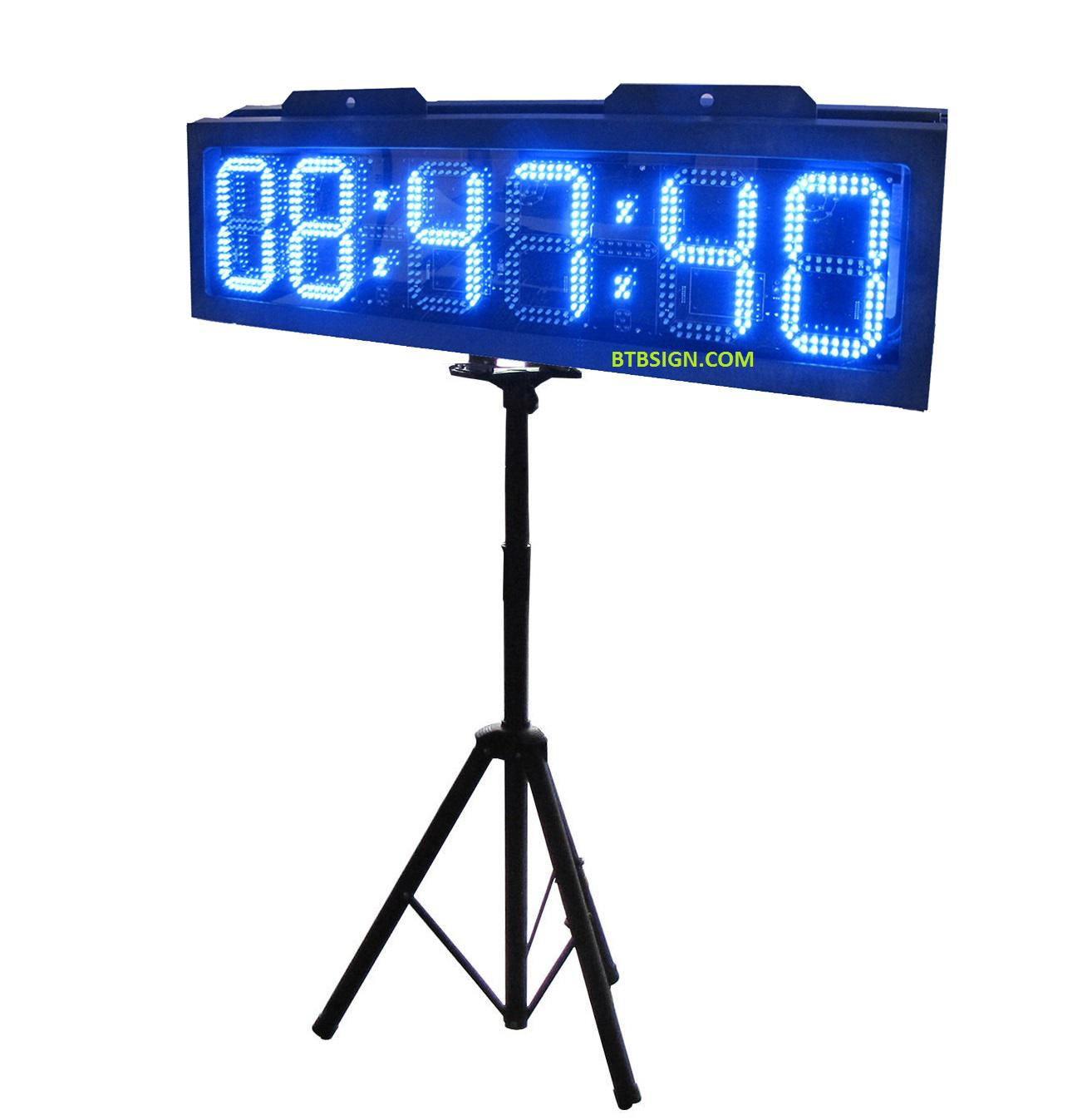 Bright 10'' Blue Led Running Race Clock Double Side Outdoor Led ...