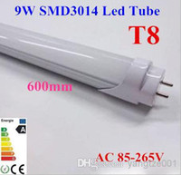 T8 9w SMD3014 Wholesale - 20x Bright SMD T8 Tube 9W 0.6m 2ft Milky Frosted-cover LED Tube Light Cool Warm White 85-265V 1800lm Replace Fluorescent Lamp Fr