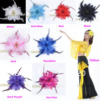Cheap Belly Dance Head Flower Dancing Costume Tribal Party Wedding Headdress Pin Brooch Clip 9Colors Free shipping to Ru