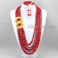 Wholesale New Chic Long Red Coral Beads Jewelry Set Coral Necklace Coral Beads Necklace Bridesmaid Necklace Wedding Gift Statement Necklace