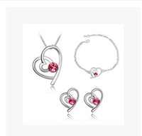 Wholesale Fashion Heart Crystal Set Charm Jewelry sets necklace earrings Bracelets Noble jewelry for women L Set LM S063