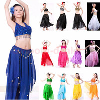 Belly Dancing Zebra-stripe Chiffon Hot Sale Sexy Sequin Bra Top and Tribal Coin Long Skirt Stage Clothing Belly Dance Costume Chiffon Skirt Set