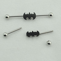 Wholesale 1 Pair pair mm Black Color Stainless Steel Tunnels and Plugs Batman Industrial Barbell Body Ear Piercing Jewelry LD38