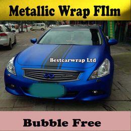 Wholesale Metallic blue matt Chrome Vinyl Auto Motor Car wrapping vehicle Graphics with bubble Free like m quality Size x20m Roll