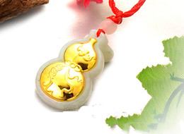 Wholesale Hulu Bottle gourd 24k gold jadeite pendant A grade natural jade charms lockets love Gold and jade