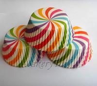 Wholesale Colorful Stripe cupcake liner baking cup paper muffin cases custom cake box cupcake maker