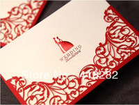 Wedding Event & Party Supplies Yes Free Shipping Sample order 1pcs Red Flower Hollow Out filigree laser cut Wedding Invitation Card with Envelope,blank inside card