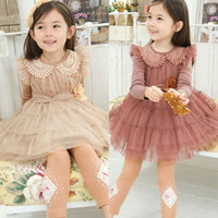 24 7 - 2014 New Spring Winter Kids Girl Clothing Solid Flower Princess Party Dresses Kids Lace Dress Size Years SF06