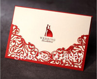 Wedding Event & Party Supplies Yes Free Shipping 50pcs Red Flower Hollow Out filigree Vintage laser cut Wedding Invitation Card with Envelope,blank inside card
