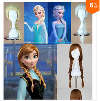Wholesale 2014 hot sell frozen New Cartoon Movie Frozen Snow Queen Anna Elsa Wig Hot fashion cosplay wig White light golden Brown color on sale