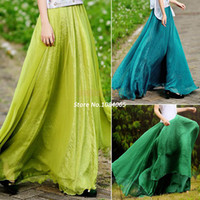 Rayon Above Knee Chiffon Lowest Price!!!New 2014 Women Summer Casual Skirt Retro Full Circle Boho Gauze Chiffon Skirt Pleated Long Maxi Skirt b7 SV002728