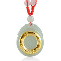 Wholesale lucky bress k gold jadeite pendant A grade natural jade charms lockets love Gold and jade