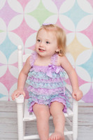 aqua bows - Petti Girls Lace Romper Lavender Aqua Baby Romper Girls Ruffle Outfit With Satin Bow