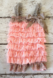 Hot Sale Baby Clothes Coral Grey Lace Romper Girls Outfit Baby Ruffle Lace Romper With Satin Bow