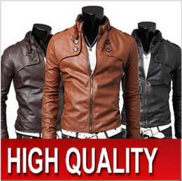 Wholesale New HOT High quality Fashion Men s Slim The cuff PU Leather leather motorcycle Jackets Coat Outerwear jackets F48