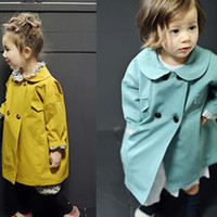 Wholesale 2014 Autumn New children Trench coat girl round collar Double breasted trench ouwear kids Double pocket long princess outwear A4147
