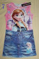 TuTu boutique clothing - New mock jeans girls dress Elsa anna printed summer girl vest dress children boutique clothes kids sleeveless dress styles