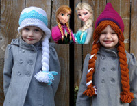 Wholesale 2014 NEW ARRIVAL Elsa amp Anna Frozen Crocheted Hat Pattern Pure hand knitting hat drop shipping fit years old girl