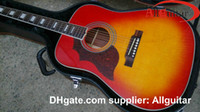 Wholesale Cherry Red Left handed Acoustic Guitar Lefty Guitar humming birds Acoustic guitar