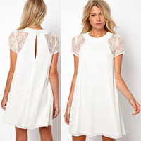 Casual Dresses Round Knee Length 2014 spring summer new women clothing lace short sleeve white back chiffon sexy casual dress Plus size XXL