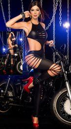 Wholesale 2014 Hot Women Black Faux Leather Club Dresses Sexy Club Wear Stage Wear