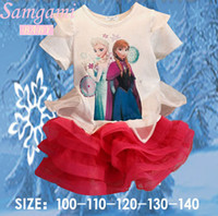 Girl Summer  2014 newest Frozen Snow Kid Child Elsa Anna Princess Dress Cosplay Costume Gift free shipping