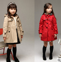 Wholesale 2014 Autumn New children Trench coat girls Removable hat long trench ouwear kids plaid lining princess outwear red khaki A4152