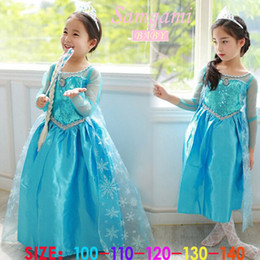 Wholesale 2014 ice and snow Elsa Princess summer long sleeve dress Birthday party dresses
