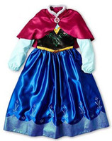 Wholesale autumn tutu kids girl party Children princess costume baby girls anna dress with cape long sleeve new frozen dress