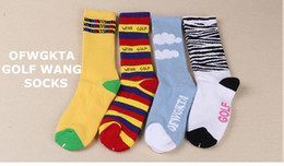 Wholesale New Arrival Men s Odd Future OFWGKTA Golf Wang Striped Cloud Tiger knee high Crew Socks Double Layer Sole Thicker Terry Socks